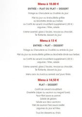 Menu Le Piano - Les menus