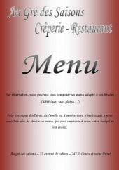 Menu Au Gré des Saisons - Carte et menu Au Gré des Saisons Couze et Saint Front