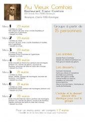 Menu Au Vieux Comtois - Le menu Groupe