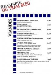 Menu Brasserie du Tram Bleu - Les viandes