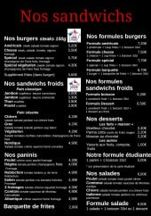 Menu L'Escapade - Les sandwiches