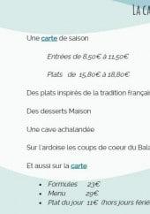 Menu Restaurant Le Balane - Informations sur les menus