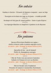 Menu Au Lion de Belfort - Entrées, poissons, viandes