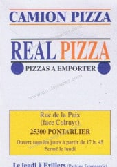 Menu Camion Real Pizza - Carte et menu Camion Real Pizza Pontarlier