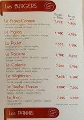 Menu Chez Stef - Burgers et paninis