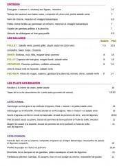 Menu Comme une Abeille -  Les entrées, salades et plats gourmands