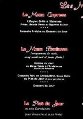 Menu Villa Rossa - Les menus