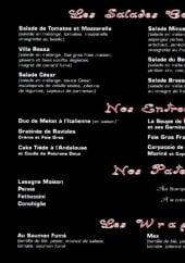 Menu Villa Rossa - Les salades, les entrees, les pates et les wraps