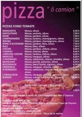 Menu Pizza ô camion - les pizza fond tomate