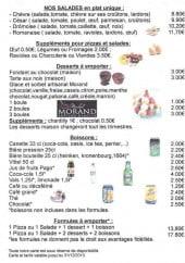 Menu Le Pantagruel - Les salades, les desserts et les formules