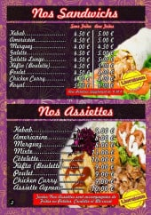 Menu Vegas Food - Les sandwiches et assiettes