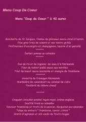 Menu Auberge Chantecler - Le menu coup de coeur