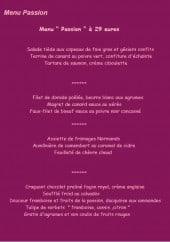 Menu Auberge Chantecler - Le menu passion