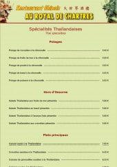 Menu Royal de Chartres - les spécialités thailandaise