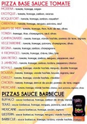 Menu Wiss Pizza - Les pizzas sauce tomate et les pizzas sauce barbecue