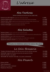 Menu L'Adresse - Tartines, salades, coin brasserie, ...