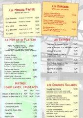 Menu Taverne des Halles - Les moules frites, les burgers,....
