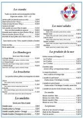 Menu Port Rhu - Les viandes, hamburgers, bruschettas...