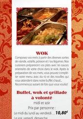 Menu China Town - Le buffet, wok et grillade à volonté