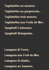 Menu La Storia - Les pâtes et lasagnes