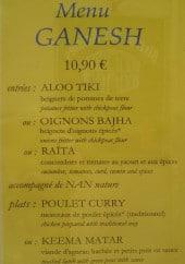 Menu Restaurant Ganesh - Les menu ganesh