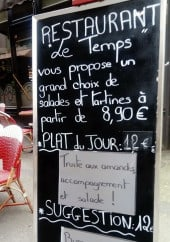 Menu Le temps - Exemple de menu