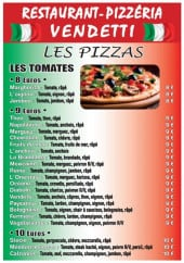 Menu Restaurant Pizzeria Vendetti - les pizzas