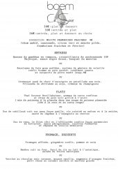 Menu Boem - Le menu du soir