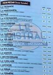 Menu Le mistral - Les pizzas