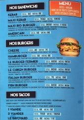 Menu Le mistral - Les sandwiches, burgers, tacos et wraps