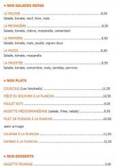 Menu La Palmeraie - Les salades repas, plats et desserts