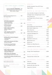 Menu La Plage des Artistes - Les vins, sirops, softs...