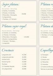 Menu Le Galion - Les plateaux, crustacés et coquillages