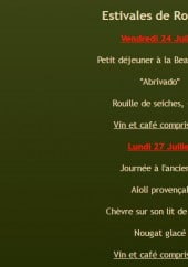 Menu Le Robinson - Le menu Estivales de Robinson