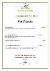 Menu Restaurant Le Mas - Les salades et menu du marché