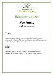 Menu Restaurant Le Mas - Les tapas