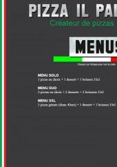 Menu Pizza Il Palio - Menus