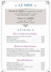 Menu Le Questel - Formules, entrées, poissons,....