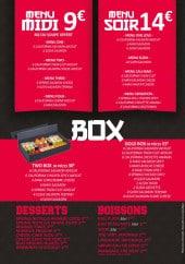 Menu SusHi One - Les menus, box, desserts et boissons