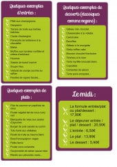 Menu La belle verte - Entrees, plats, desserts, formules