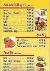 Menu Ali baba - Sandwiches, burgers, assiettes, ...