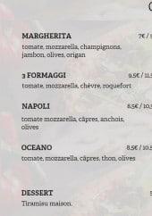 Menu Artigiano pizza - Les pizzas traditionnelles
