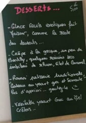 Menu La Fille de Zorba - Exemple de menu