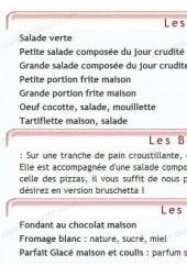 Menu Sous le marronnier - Les salades, bruschettas et desserts