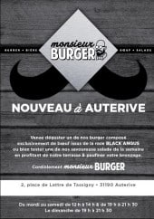 Menu Monsieur Burger - Carte et menu Monsieur Burger Auterive