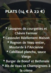 Menu Cozette &  Traditions - Plats