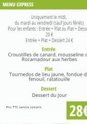 Menu La Table des Merville - Menu express