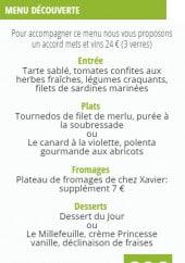 Menu La Table des Merville - Menu découverte