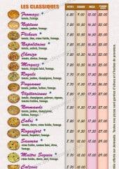 Menu Pizz' Eclair - Les pizzas classiques: royal, paysanne,...
