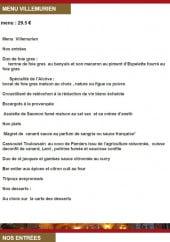 Menu L'Alcôve - Le menu à 29,5€ et entrées